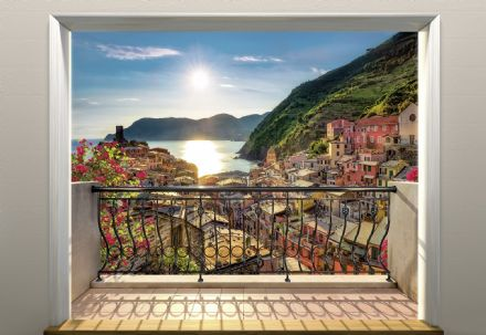 Sun set over the Cinque Terre wall mural wallpaper